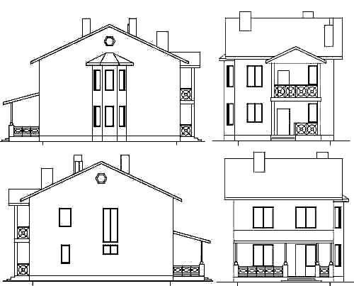 Чертежи домов сбоку спереди картинки