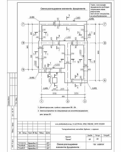 Схема расположения элементов